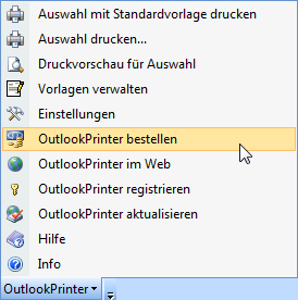 OutlookPrinter Symbolleiste